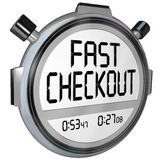 Fast Checkout Store Buy Purchase Quick Service Stopwatch Timer. Fast Checkout words on a stopwatch or timer to record how quickly you can complete a purchase Stock Photos