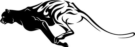 Fast Cheetah Tattoo. Charging Cheetah silhouette isolated on white background Royalty Free Stock Photo