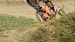 Fast circuit race bicycle riding, spinning wheels competition. Stock footage stock video