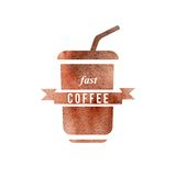 Fast coffee logo Royalty Free Stock Photo