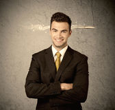 Fast creative sales guy with smoking bullet Stock Photos