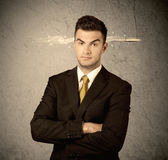 Fast creative sales guy with smoking bullet Stock Photography