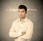Fast creative sales guy with smoking bullet Royalty Free Stock Photo