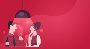 A fast date of a couple in love. Evening dinner with wine. Stylish pink red illustration in flat Stock Image