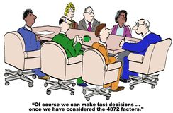 Fast Decisions. Cartoon of businessman boss saying he can make fast decisions.... after he considers the 4872 factors Royalty Free Stock Image