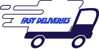 Fast deliveries blue truck Royalty Free Stock Images