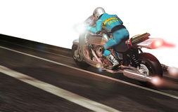 Fast delivery. A motorcyclist on a  powerful motorcycle, running fast to deliver several documents Stock Images