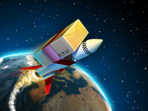Fast delivery. Package tied to a rocket flying to its destination. Digital illustration Royalty Free Stock Images