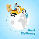 Fast delivery banner. Boy riding yellow bike Stock Image