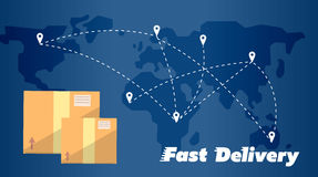Fast delivery banner. Cardboard boxes symbol Royalty Free Stock Images