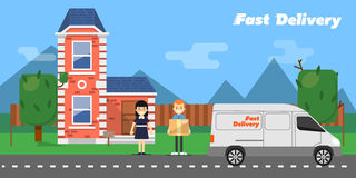 Fast delivery banner. Commercial vehicle. Stock Image