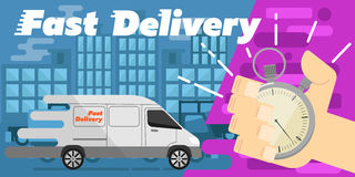 Fast delivery banner. Commercial vehicle. Royalty Free Stock Photo
