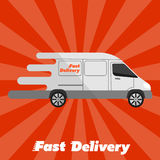 Fast delivery banner. Commercial vehicle. Stock Photo