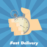 Fast delivery banner. Hand points at stopwatch Stock Photography