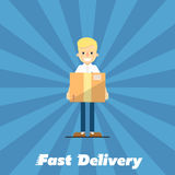 Fast delivery banner. Postman with cardboard box Royalty Free Stock Image