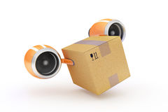 Fast delivery of cargo in a cardboard box on a white background. Flying on turbines cardboard box illustrates the express delivery of cargo royalty free stock photos