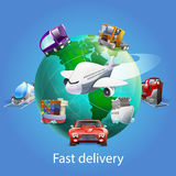 Fast Delivery Cartoon Concept Stock Photo