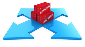 Fast delivery from China. Fast delivery cargo containers from China. 3d concept isolated on white stock illustration