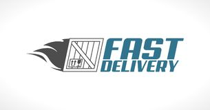 Fast delivery concept - fast delivered package logo Stock Images