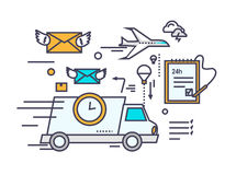 Fast Delivery Concept Icon Flat Design. Service business transportation, cargo and courier, transport and distribution, logistic mail, receive envelope, send Royalty Free Stock Photos