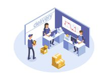 Fast delivery concept. Office workers, logistic operators. Product goods shipping transport. Isometric 3d illustration. Stock Photo