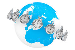 Fast delivery concept. StopWatch with Globe Stock Photo