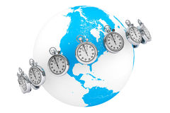 Fast delivery concept. StopWatch with Globe Royalty Free Stock Photo