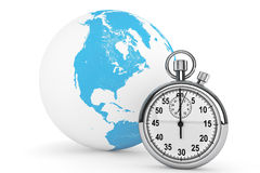 Fast delivery concept. StopWatch with Globe Royalty Free Stock Images