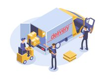 Fast delivery concept. Van, man and cardboard boxes. Product goods shipping transport. Isometric 3d illustration. Royalty Free Stock Photos