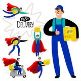 Fast delivery courier set. Fast delivery courier vector collection, superhero delivery man with box icon set stock illustration