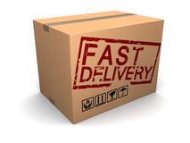 Fast delivery. 3d illustration of cardboard box with fast delivery sign Royalty Free Stock Photography