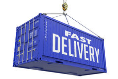Fast Delivery - Dark Blue Hanging Cargo Container. Royalty Free Stock Photos