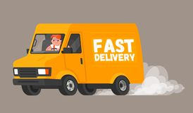 Fast delivery. The driver on the van rushes to deliver the goods to customers and quickly rides leaving a cloud of dust behind. Ve. Ctor illustration in a flat stock illustration