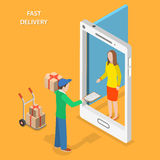 Fast delivery flat isometric vector concept. The Courier stays with the parcel near the door that looks like a smartphone and gives the parcel to the customer vector illustration