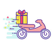 Fast delivery of food on a moped Royalty Free Stock Images