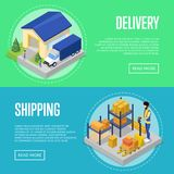 Fast delivery and freight shipping set. Fast delivery and freight shipping isometric posters. Logistics and distribution, home delivery transportation, warehouse Stock Image