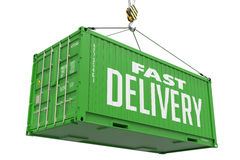 Fast Delivery - Green Hanging Cargo Container. Stock Photography
