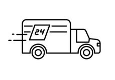 Fast delivery 24 hours truck logo or icon.  Royalty Free Stock Photo