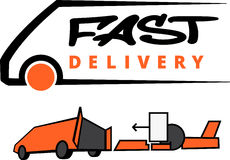 Fast delivery icon silhouette on white background vector illustration Royalty Free Stock Photo
