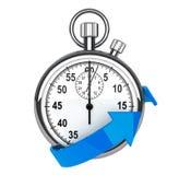 Stopwatch with blue arrow Royalty Free Stock Photos