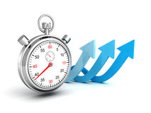Fast delivery icon. Stopwatch with blue arrows. On a white background. 3d render illustration Royalty Free Stock Photography