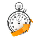 Stopwatch with orange arrow Royalty Free Stock Photos