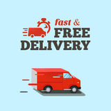 Fast delivery illustration. Typographic inscription of fast free delivery. Isometric red van. EPS10 vector illustration