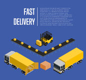 Fast delivery isometric concept. Fast delivery isometric vector illustration. Commercial cargo truck, forklift with boxes, loading process. Warehouse logistics royalty free illustration