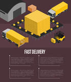 Fast delivery isometric concept. Fast delivery isometric vector illustration. Commercial truck, forklift with boxes, cargo storage terminal. Warehouse logistics royalty free illustration