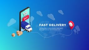 Fast Delivery isometric design. Fast Delivery online isometric design with phone, truck, plane, boxes, pin on blue gradient background. Logistic digital shopping vector illustration