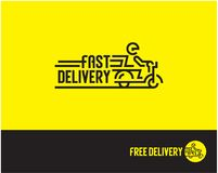 Fast delivery logo. Man riding scooter. Free delivery line icon. Delivery Boy Royalty Free Stock Images