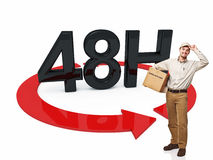 Fast delivery. Delivery man and 3d 48h text Royalty Free Stock Image