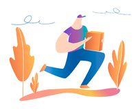 Fast delivery. Man runs with a box in his hands. stock illustration