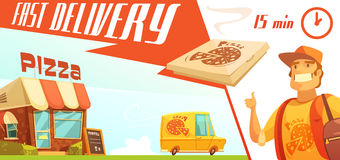 Fast Delivery Of Pizza Design Concept Stock Images